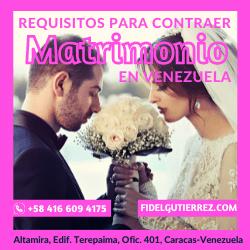 los requisitos para contraer Matrimonio Civil en Venezuela