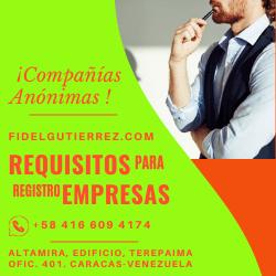 requisitos para registrar compañias y empresa en venezuela caracas