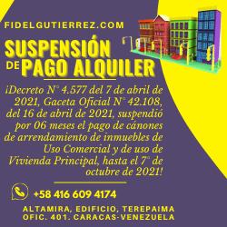pago de alquileres suspendidos en venezuela 2021